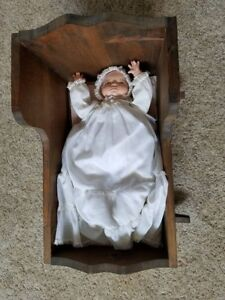 Vintage Collectible Antique Doll Handmade Wooden Cradle Rocks Music Box Pillow