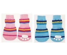 Striped Dog Slipper for dog - Set of 4 - Pink or Blue - 3 sizes Snug fit