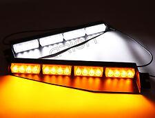 32 LED Emergency Warning Strobe Visor Split Deck Dash Light bar Amber White 12V