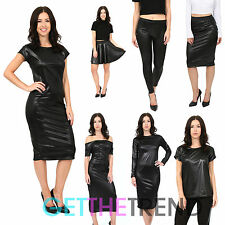 Womens Wet look PVC Dress Shiny Leggings Midi Skater Skirt Plus Size Black Top