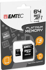 MicroSD XC 1 Memory Card Class 10 + SD Adapter 64GB Platinum Full HD 3D GoPro)