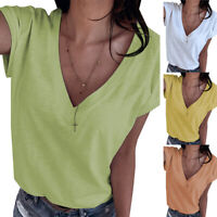 Women Ladies Short Sleeve V neck T-Shirt Female Casual Loose TShirts Pullover