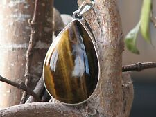 Large Polished Tiger Eye Crystal Pendant In Silver .925 - Omni New Age