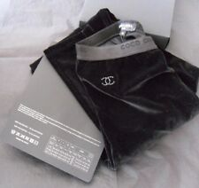 CHANEL Black Velvet Crystal CC Leggings Skinny Pants Runway Collection Size Med
