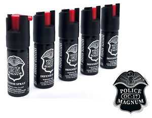 5 Police Magnum pepper spray .50oz unit safety lock personal defense protection