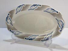 VTG Steubenville Celery Dish Blue Feathers Oval Serving Platter MCM Scalloped