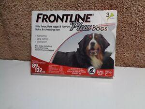 🌟Frontline Plus for Dogs 89-132 lbs -Kills Fleas, Eggs,Ticks, & Lice - Pkg of 3