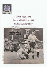 Nigel sims Aston Villa 1955-1964 original main signé magazine découpe