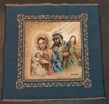 Tapestry Holy Family Baby Jesus Manger Scene Small 18 x 18 In. Panel