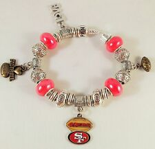 CHIC GLASS BEADS Official NFL SAN FRANCISCO 49ers Football Charm Bracelet RED