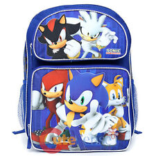 "Sonic The Hedgehog Large School Backpack 16"" Book Bag Shadow Silver Sonic"