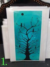 black cat blank cards kitten new handmade paintings pink blue love magic tree