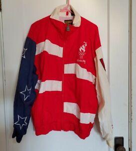 Vintage 1996 USA Atlanta Olympics Windbreaker Jacket Logo Athletic Large Coat