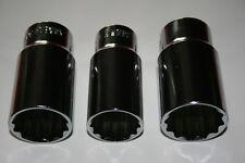 3 Lange 1/2 Stecknuss 12-KANT Nuss Gr.27mm 30mm 32 mm Schlagschrauber Nuss Satz