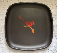 Vintage Couroc Of Monterey CA Cardinal Bird Square Plate Or Tray MCM Mid Century