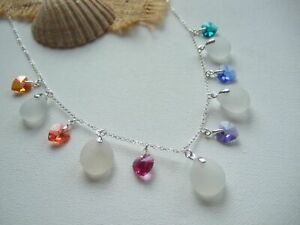 Swarovski Heart Crystal Rainbow And White Sea Glass Necklace - Sterling Silver