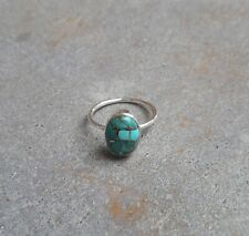 Copper Turquoise Ring Solid 925 Sterling Silver Ring Handmade Ring Women Ring