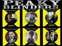 PEAKY BLINDERS -ARTHUR TOMMY AND POLLY - 6 X 58mm FRIDGE MAGNETS +BONUS 1