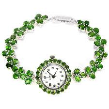 Argent Sterling 925 Véritable Naturel riche vert Chrome Diopside Gem Watch 7 in (environ 17.78 cm)
