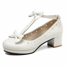 Women Shoes T-Straps Bows Mary Jane High Heels Girls Casual Buckle Fashion Pumps