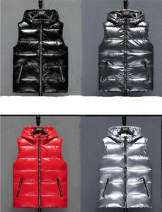 2021 Spring Glossy Women Down Cotton Vest Hooded Waistcoat jacket Men short Coat