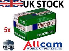 5 Pack: Fuji Velvia 50 RVP 35mm 36 Exposures ISO 50 Color Slide Film, New