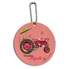 Farm Tractor Country Style Pink Polka Dot Farming Round Wood Luggage ID Tag