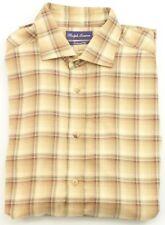 Ralph Lauren Camicia da Uomo Marrone Cammello su Misura a Quadri XL extra Large