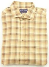 Ralph Lauren camisa hombre Marrón Camel a medida cuadros XL extra grande