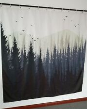 Forest and Mountain Birds Art Waterproof Fabric Shower Curtain Bathroom Decor