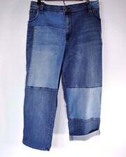 Lane Bryant Blue Jeans Plus Size Denim Capri Weekend Pants Stretch Patchwork 26