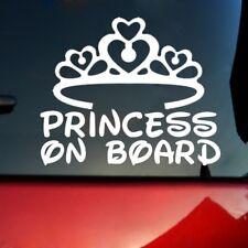 PRINCESS ON BOARD Baby Child Window Bumper Car Decal White #DJ8Z
