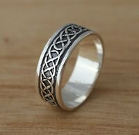 Solid 925 Sterling Silver Celtic Knot Oxidized 7 mm Band/Thumb Ring N-Z Sizes