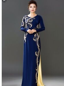 Ao Dai Vietnamese Blue Velvet Long Dress with Pants (Free Priority shipping)