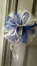 8pc Wedding White &  Royal Blue Tulle Pew Bows Rush order available email me