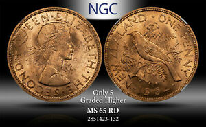 1964 NEWZEALAND PENNY NGC MS 65 RD ONLY 5 GRADED HIGHER #A