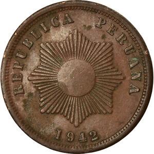 [#759840] Coin, Peru, 2 Centavos, 1942, EF(40-45), Copper Or Bronze, KM:212.2