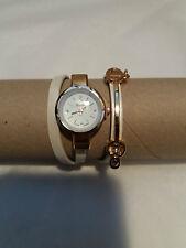 Wrap Around Quartz Fashion Beige Bracelet Watch with Gems by Yuhao - Swiss Made