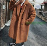 Mens Shearling Fur Parkas Loose Coat Sheepskin Leather Lamb Fur jacket Oversize