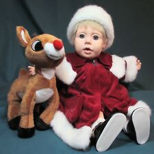 """20"""" Real Baby Vinyl Doll Dressed in Red Velvet w/ Rudolph – Very Good Cond"""