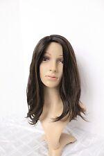 AHUVA WIGS EUROPEAN HUMAN HAIR WIG DARK BROWN W/ HIGHLITE VIRGIN HAIR WAVY M