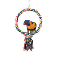 EE_ AM_ Bird Toy Cotton Rope Round Ring Climbing Swing Parrots Loop Perch Chewin