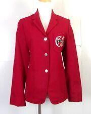 vtg 50s 60s women's Robert Collins Red Wool Patch Pocket Blazer Sorority 36 bust