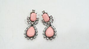 Baublebar pale pink beads with rhinestones statement metal earrings unique