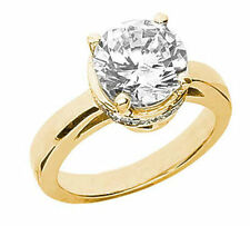 1.02 ct Round Diamond Engagement Solitaire Ring 14k Yellow Gold 1.27 tcw