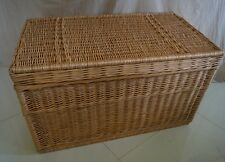 WICKER CHEST STORAGE Trunk Solution Willow Box Lid Toy Blanket Linen Large 80 cm