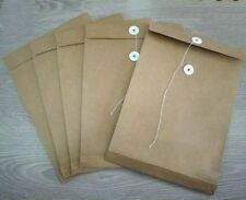 100 Quality String Tie Envelopes Fit A4 Kraft Craft 230GSM Thick 33.7x23.7x2.7cm