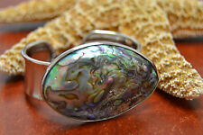 OVAL ABALONE SHELL SILVER PLATED CUFF BRACELET JEWELRY FASHION ACCESSORY #B-6