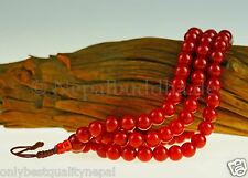 Mala Red Necklace Carnelian Round Precious Stone Jewellery Nepal 35b
