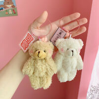 Cartoon Plush Bear Rabbit Keychain Pompom Trinkets Women Bag Car Key Ring Chain